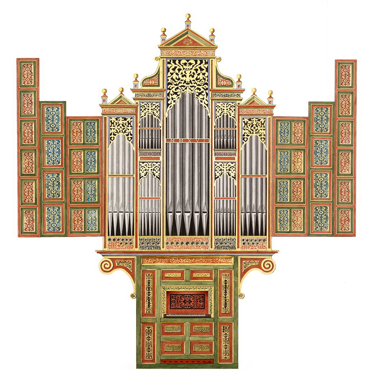Dessin du buffet du projet d'orgue ibérique de Grandvillars - Polychromie et décoration du buffet : Domiciano Fernandez
